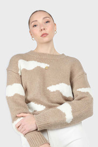 Beige and white intarsia cloud wool blend jumper1sx