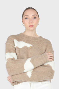 Beige and white intarsia cloud wool blend jumper2