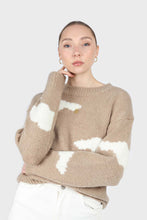 Load image into Gallery viewer, Beige and white intarsia cloud wool blend jumper3