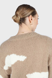 Beige and white intarsia cloud wool blend jumper4