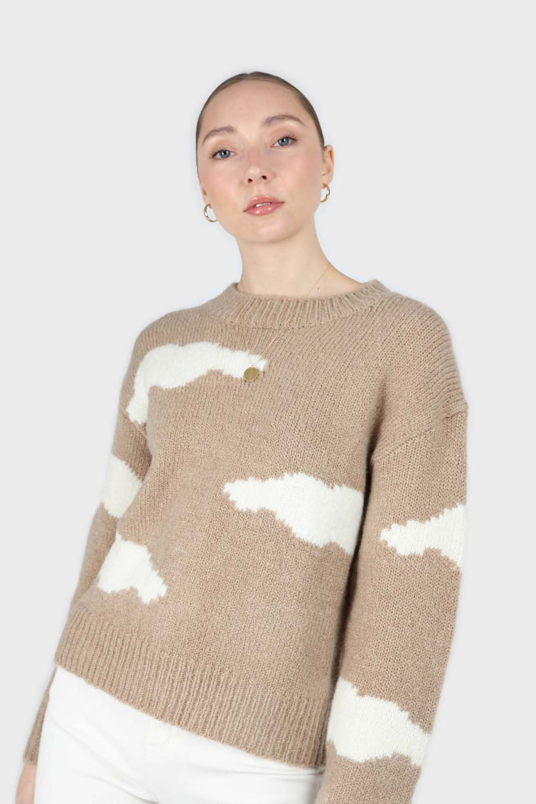 Beige and white intarsia cloud wool blend jumper5