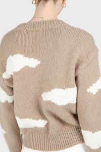 Beige and white intarsia cloud wool blend jumper6