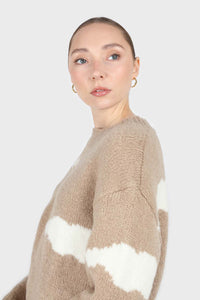 Beige and white intarsia cloud wool blend jumper7