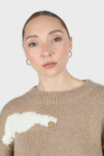 Load image into Gallery viewer, Beige and white intarsia cloud wool blend jumper8