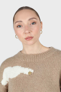 Beige and white intarsia cloud wool blend jumper8