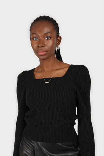 Black puff sleeved square neck knit top1sx