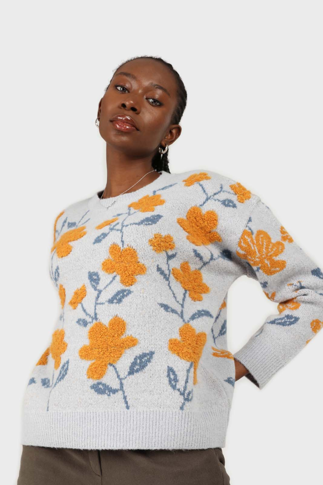 Light blue and yellow intarsia floral jumper2