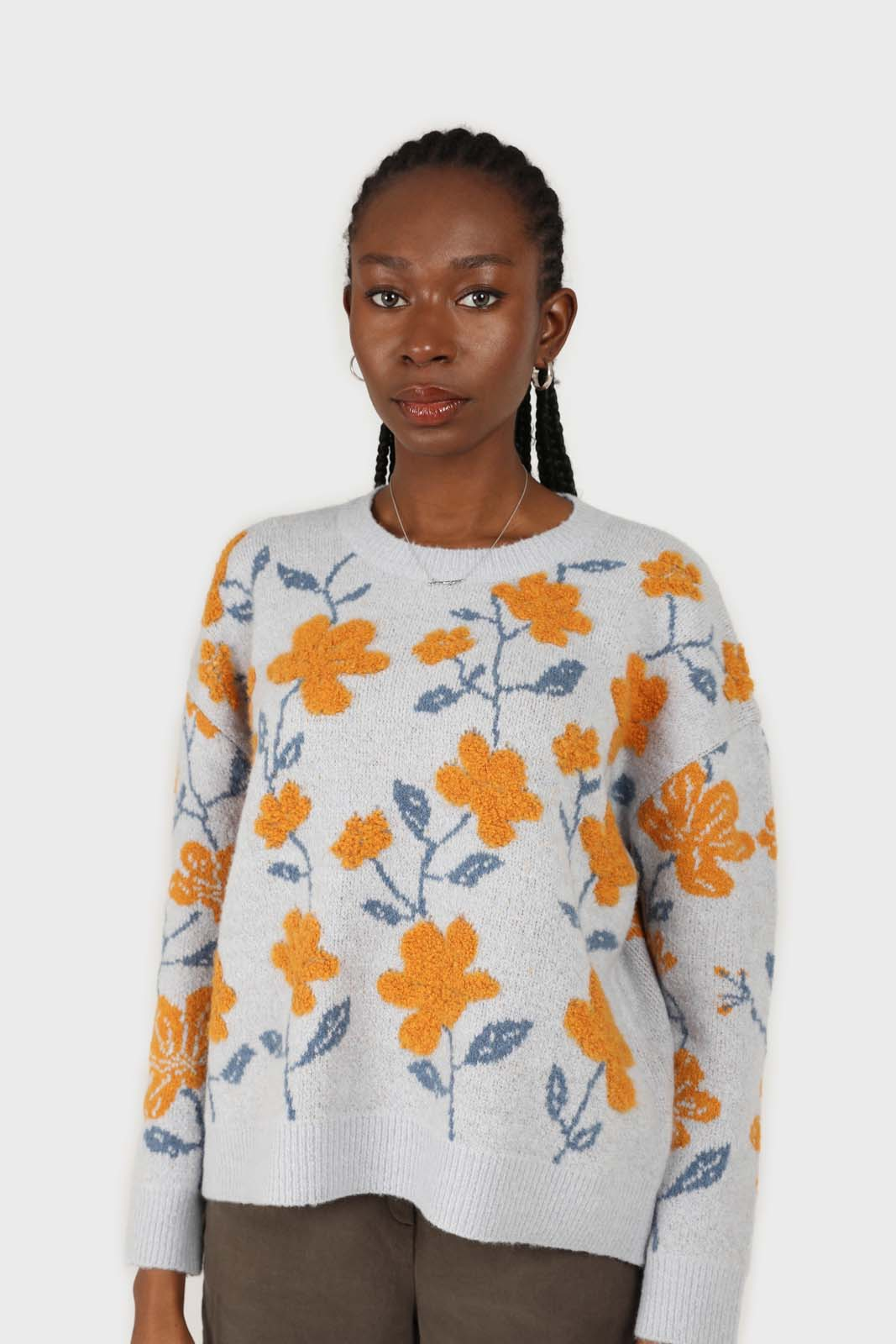 Light blue and yellow intarsia floral jumper3