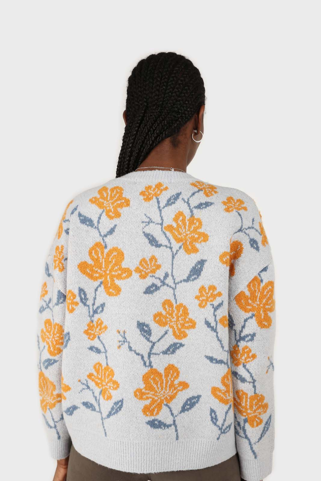 Light blue and yellow intarsia floral jumper5