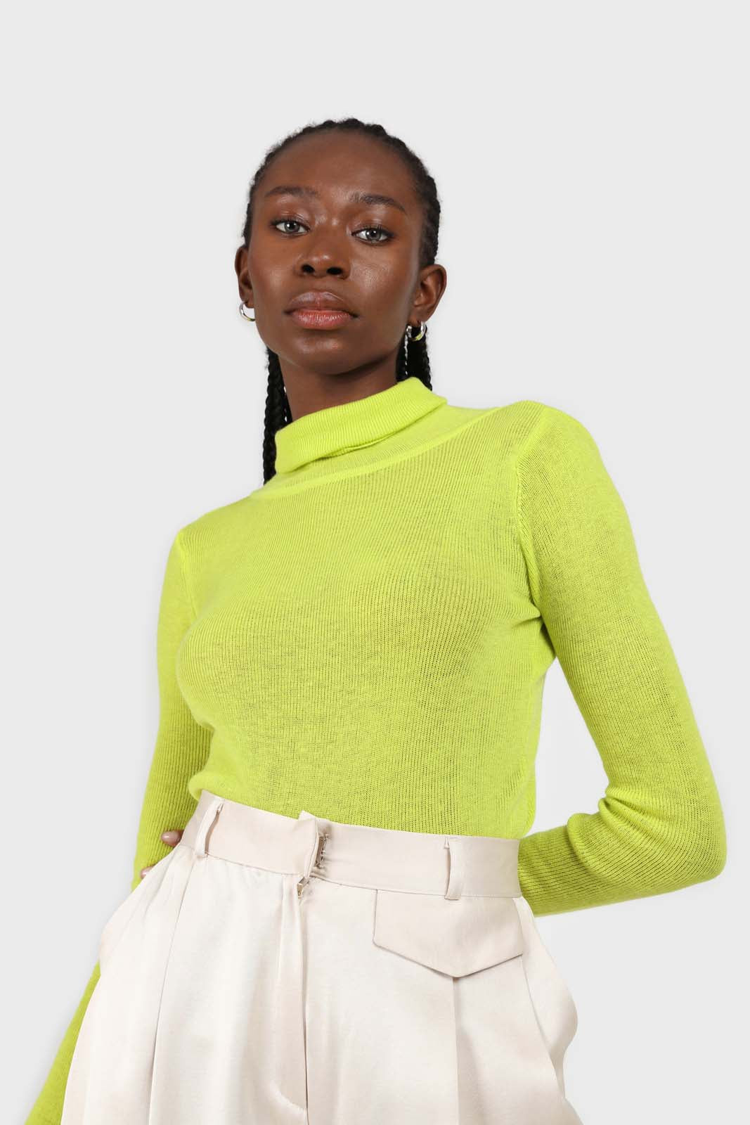 Bright green wool blend turtleneck top2