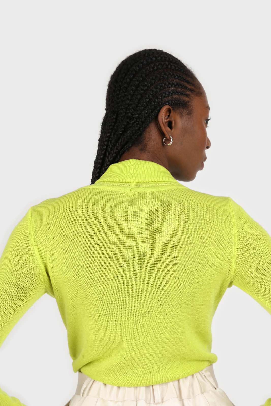 Bright green wool blend turtleneck top3