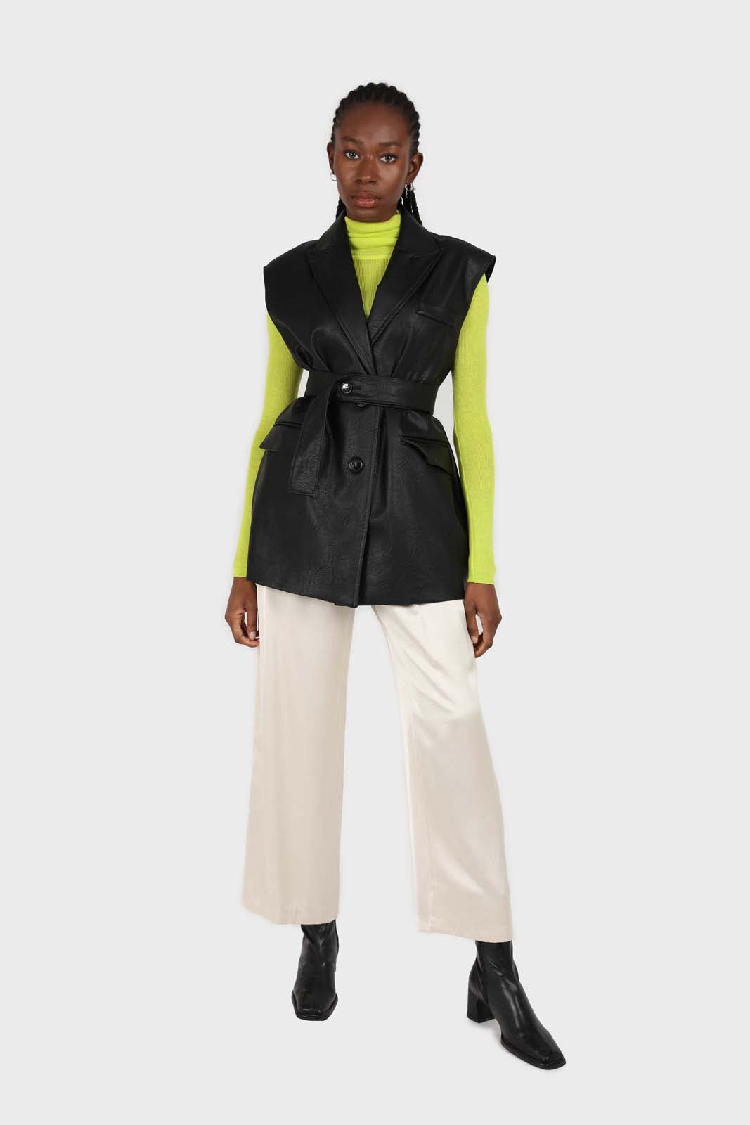 Bright green wool blend turtleneck top6