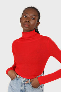 Bright red wool blend turtleneck top1sx