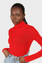 Load image into Gallery viewer, Bright red wool blend turtleneck top2