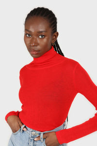 Bright red wool blend turtleneck top2