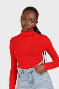 Bright red wool blend turtleneck top3