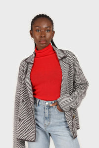 Bright red wool blend turtleneck top4