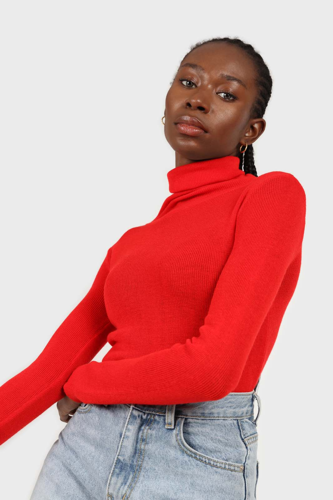 Bright red wool blend turtleneck top5