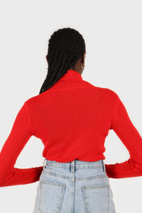Bright red wool blend turtleneck top6