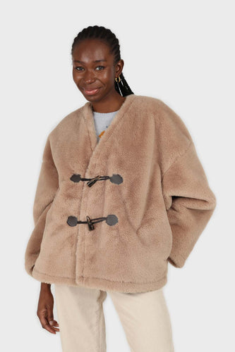 Beige faux fur toggle button short coat1sx