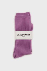 Light purple long ribbed socks3