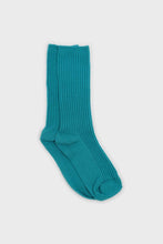 Load image into Gallery viewer, Aqua blue long ribbed socks1sx