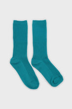 Load image into Gallery viewer, Aqua blue long ribbed socks2