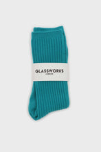 Load image into Gallery viewer, Aqua blue long ribbed socks3