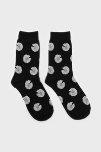Black and ivory daisy print socks 2