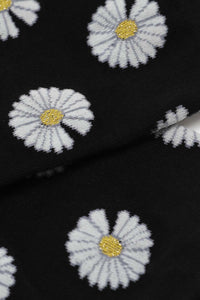 Black and ivory daisy print socks 3
