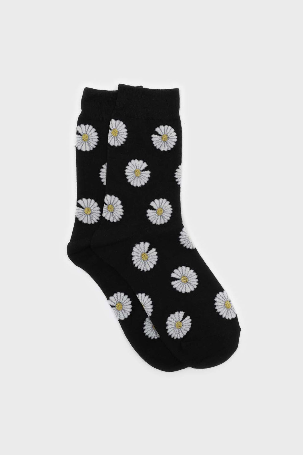 Black and ivory daisy print socks sx