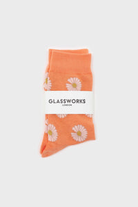 Orange and ivory daisy print socks 1