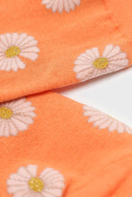 Load image into Gallery viewer, Orange and ivory daisy print socks 3