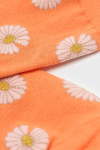 Orange and ivory daisy print socks 3