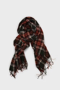Khaki and orange classic plaid scarf1sx