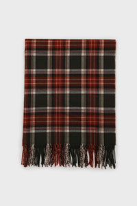 Khaki and orange classic plaid scarf2