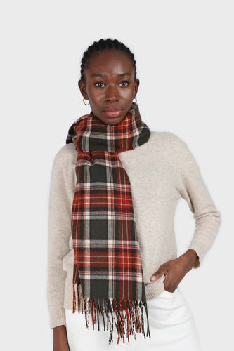 Khaki and orange classic plaid scarf4