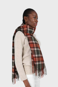 Khaki and orange classic plaid scarf5