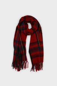 Red and blue bold plaid scarf3