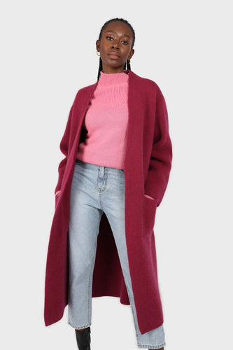 Beet red thick angora sweater coat1sx