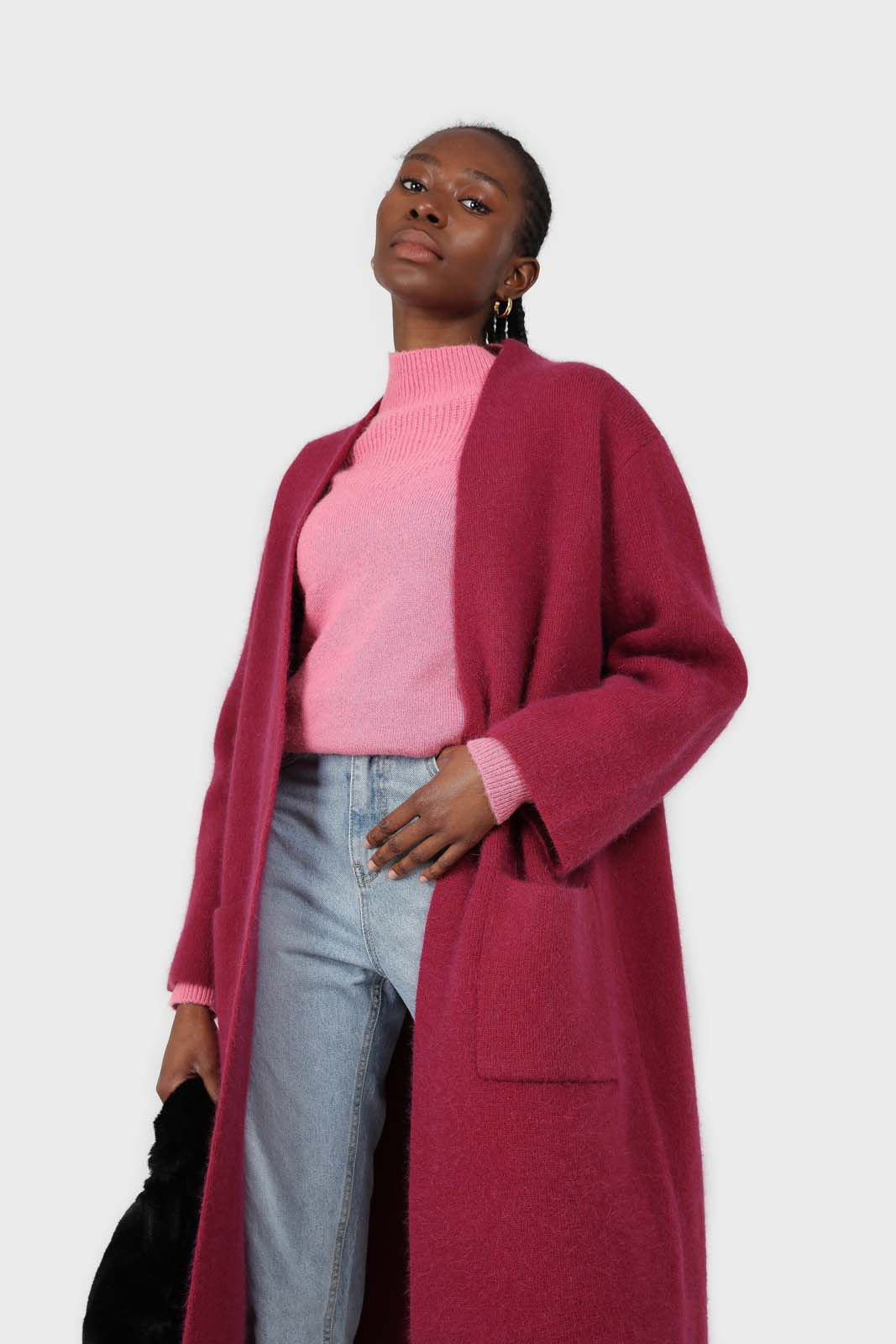 Beet red thick angora sweater coat2