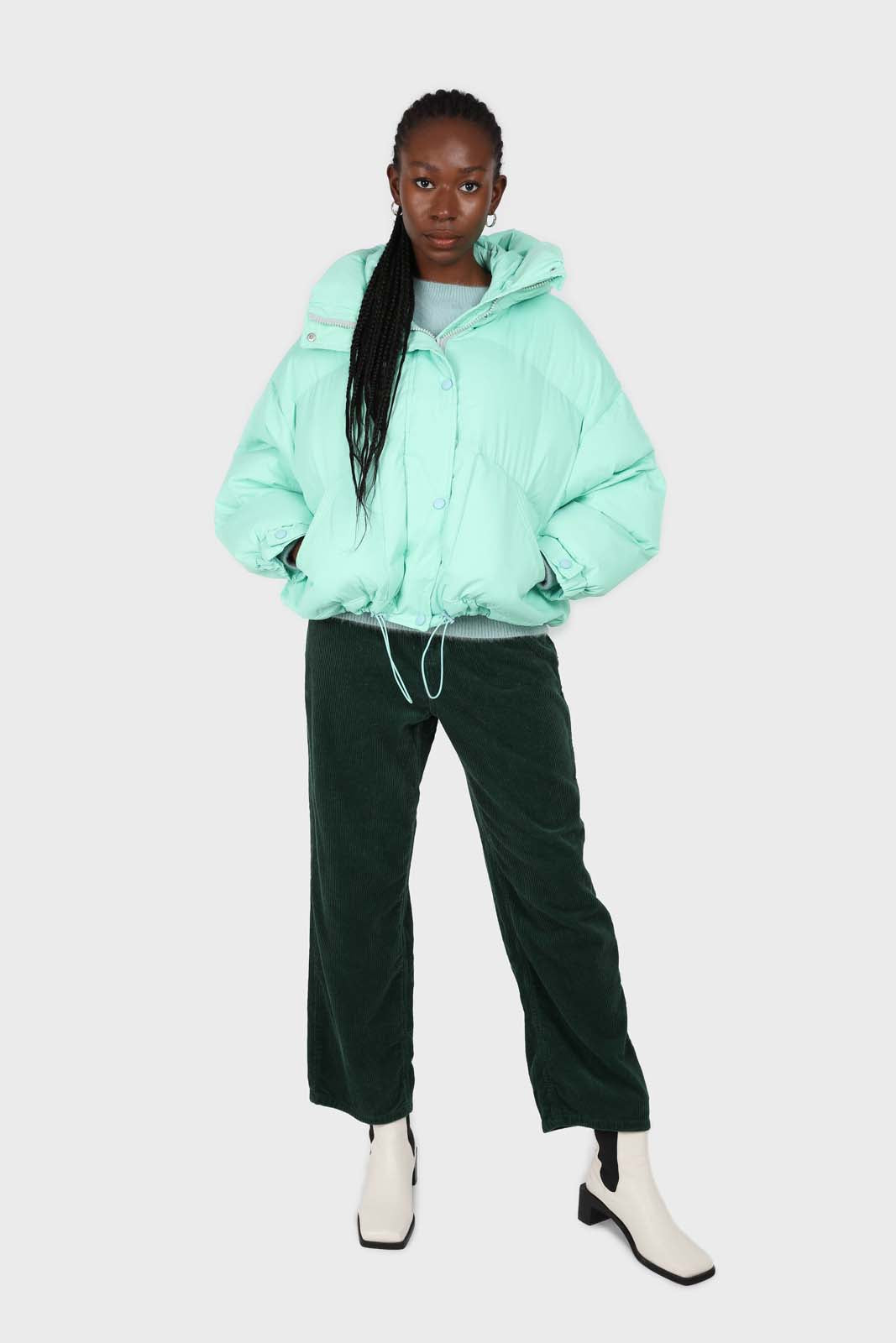 Mint green hooded thick puffer jacket1sx
