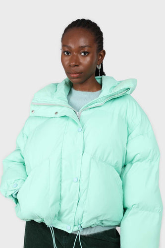 Mint green hooded thick puffer jacket3