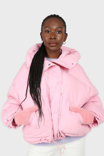 Bright pink hooded thick puffer jacket1sx