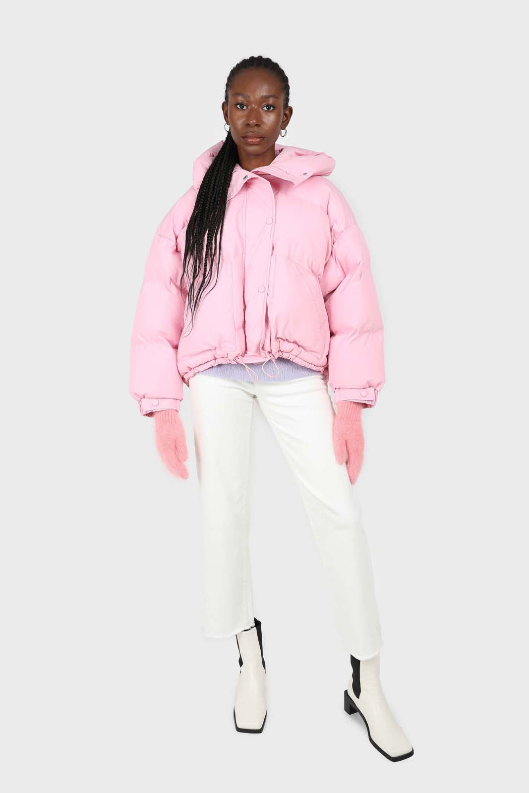 Bright pink hooded thick puffer jacket2