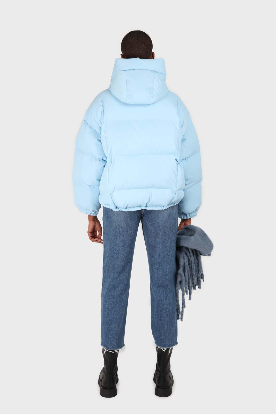 Light blue hooded thick puffer jacket2