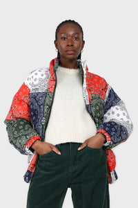 Multicolor paisley patchwork puffer jacket1sx