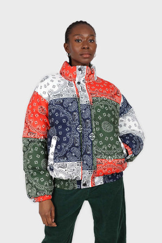 Multicolor paisley patchwork puffer jacket2
