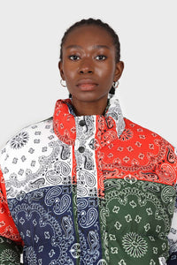 Multicolor paisley patchwork puffer jacket3