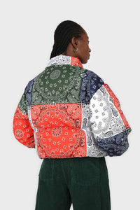 Multicolor paisley patchwork puffer jacket4